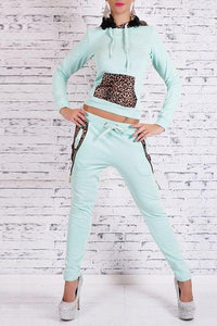 Hooded Long Sleeve Leopard Spliced Hoodie + Drawstring Pants Twinset