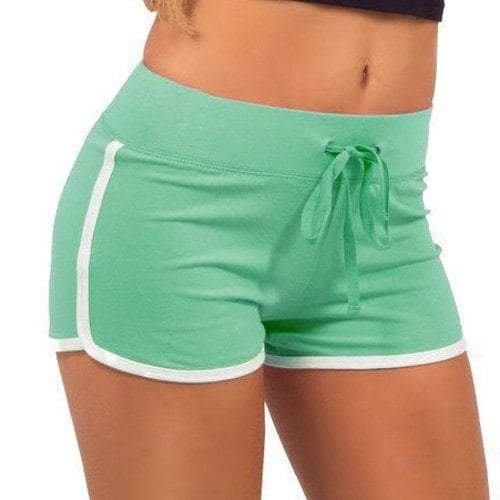 Color Splicing Drawstring Yoga Shorts