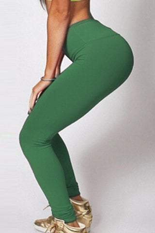 Elastic Waist Skinny Solid Color Yoga Pants