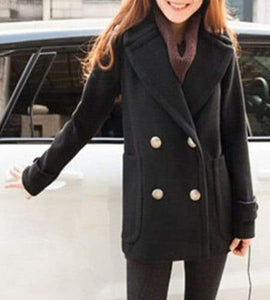Turn-Down Collar Long Sleeve Pure Color Pocket Design Coat