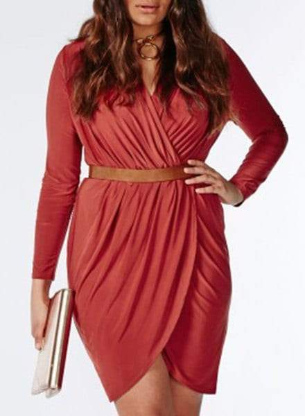 V-Neck Long Sleeve Solid Color Wrap Dress For Women