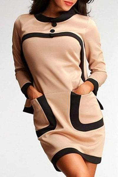 Pocket Two Tone Tube Bodycon Dress +Long Sleeve Top
