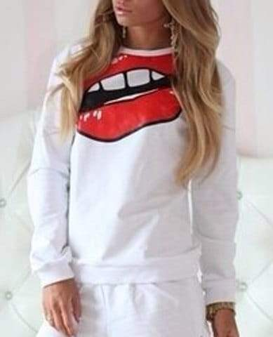 Round Neck Long Sleeve Cartoon Lip Print Sweatshirt