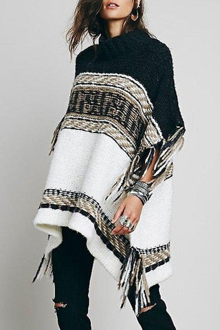 Stand Collar Half Sleeve Tassels Embellished Loose-Fitting Sweater