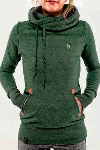 Hooded Solid Color Drawstring Embroidery Print Hoodie