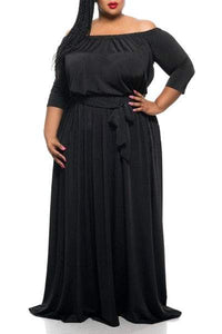 Off The Shoulder 3/4 Sleeve Maxi Dress For Women