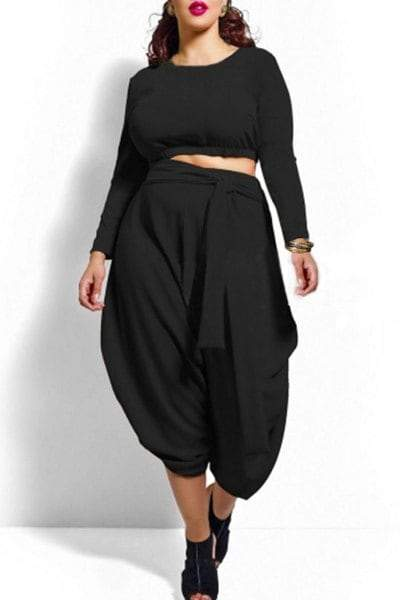 Long Sleeve Crop Top and High Waist Solid Color Irregular Pantskirt Twinset