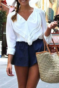 V-Neck Long Sleeve Frilled White Shirt