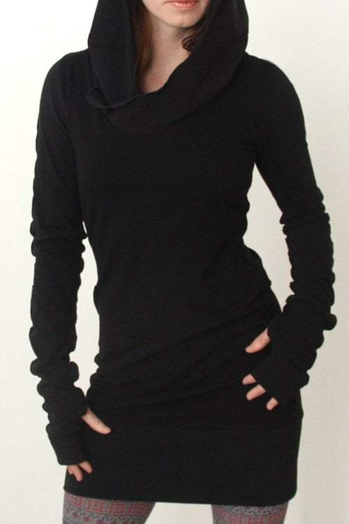 Hooded Long Sleeve Black Dress