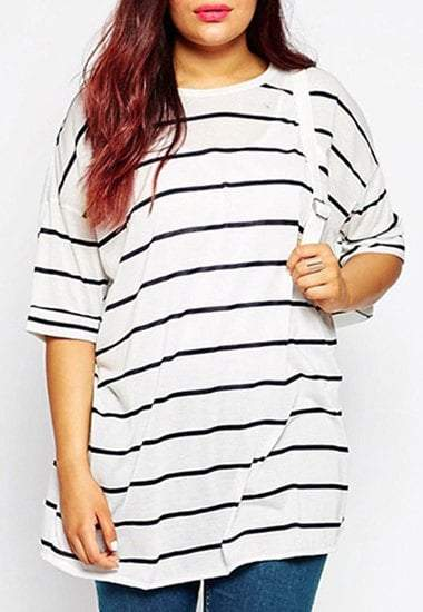 Round Neck 3/4 Sleeve Striped Plus Size T-Shirt