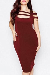 Square Neck Hollow Out Pure Color Plus Size Dress