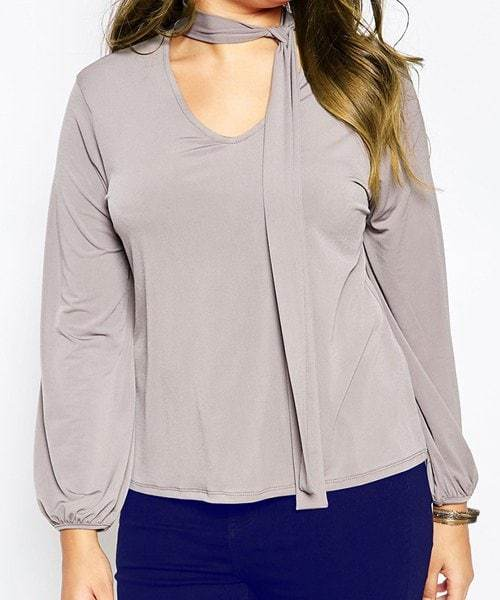V-Neck Long Sleeve Solid Color Plus Size Blouse