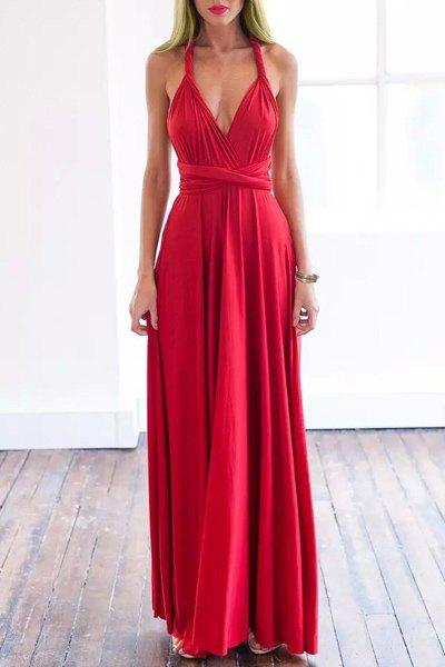 Plunging Neck Sleeveless Solid Color Convertible Dress