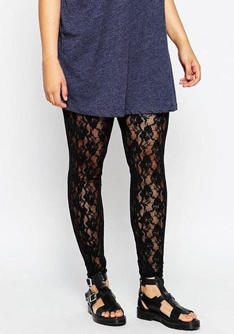 Elastic Waist Hollow Out Plus Size Lace Leggings