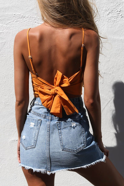 Sexy Backless Tie-Behind Crop Top