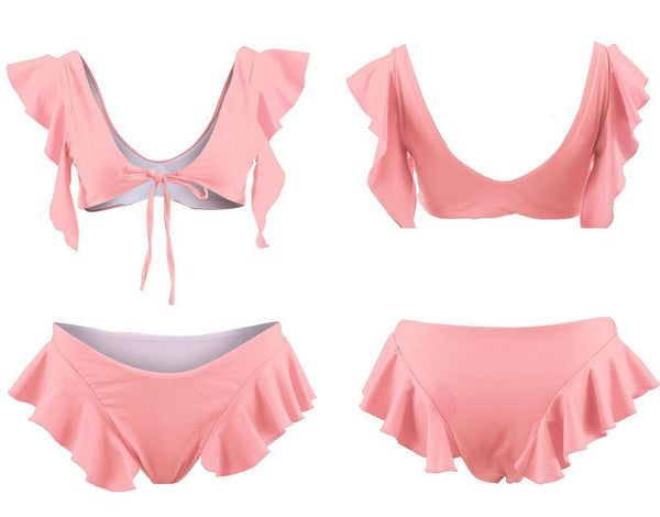 Pure Color Ruffles Lace-Up Bikini