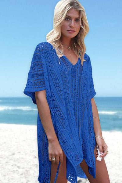 Solid Color Hollow Pullover Cover Up