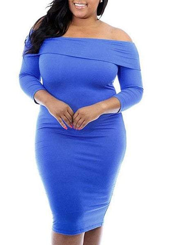 Off-The Shoulder 3/4 Sleeve Pure Color Bodycon Dress