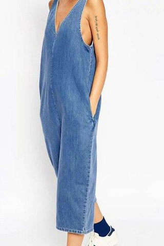 V-Neck Wide Leg Denim Jumpsuit For Women
