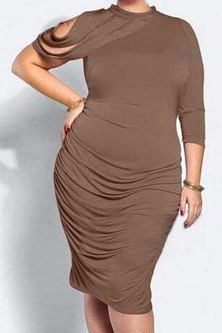 Stand-Up Collar 3/4 Sleeve Ruched Plus Size Dress