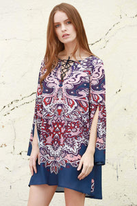 Split Sleeve Printed Shift Dress