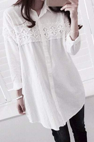 Shirt Collar Long Sleeve Lace Spliced Loose-Fitting Shirt