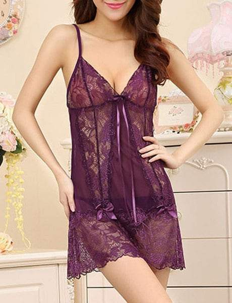 Spaghetti Strap Lace and Bow Spliced See-Through Babydoll
