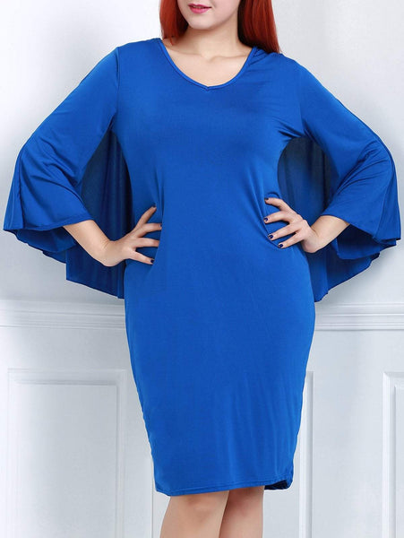 V-Neck 3/4 Sleeve Bodycon Solid Color Cape Dress