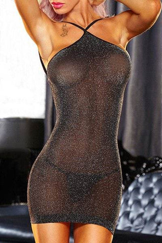 Black Halter Backless See-Through Bodycon Dress and G-String Suit