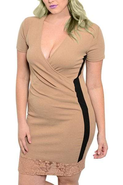 Plunging Neck Short Sleeve Color Block Bodycon Dress