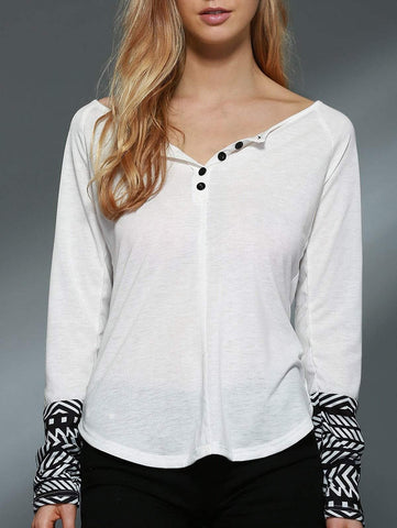Scoop Collar Long Sleeve Slimming Printed Knitwear