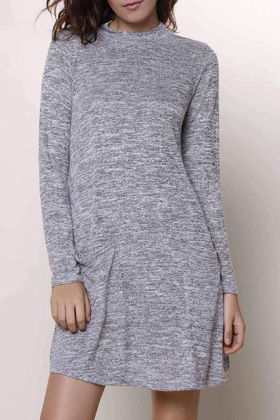 Colormix Stand Collar Long Sleeve Loose Knitwear Dress