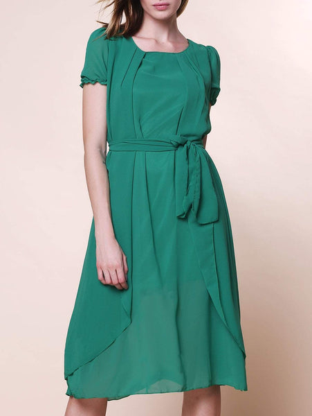 Scoop Neck Short Sleeve Pure Color Asymmetrical Chiffon Dress