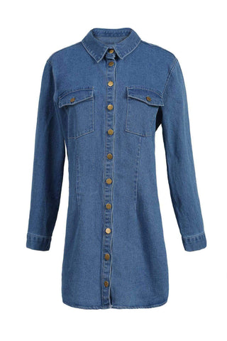 Shirt Collar Long Sleeve Single-Breasted Solid Color Denim Dress