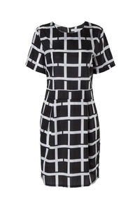 Jewel Neck White Black Plaid Short Sleeve Dress
