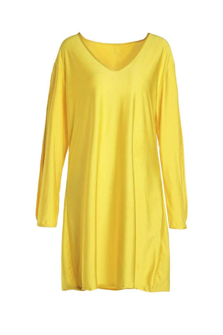 V-Neck Split Sleeve Solid Color Dress For Women