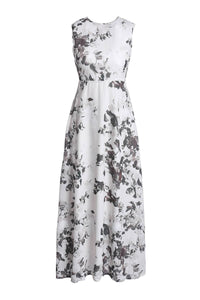 Jewel Neck Sleeveless Printed Backless Maxi Dress For Women