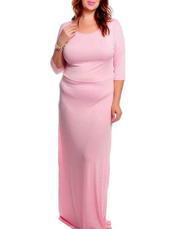 Slash Neck Solid Color 3/4 Sleeve Plus Size Dress