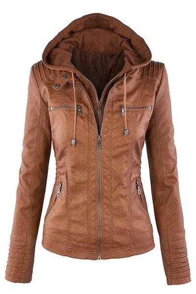 Faux Leather Detachable Hooded Jacket