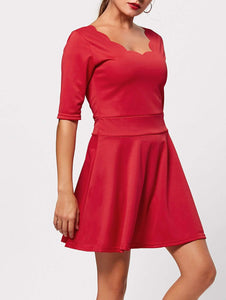 Scoop Collar Half Sleeve Solid Color Dress