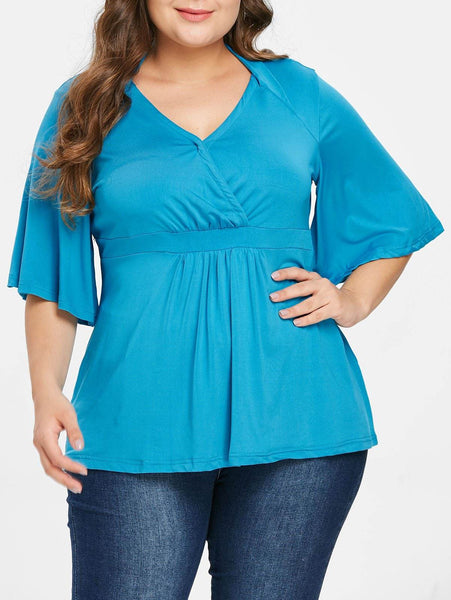 Plus Size Flare Sleeve Solid Color V-Neck Blouse