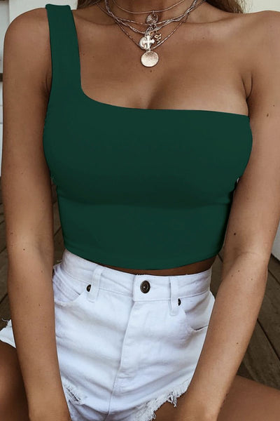 Sexy Short One-Shoulder Tank Top