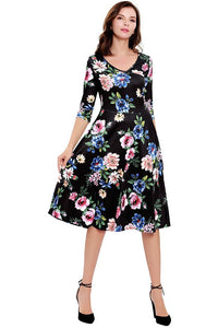 Floral Round-Neck Party Dress