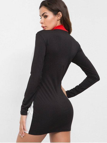 Mock Neck Contrast Bodycon Dress