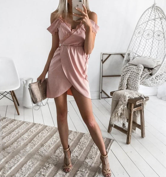 Chic Asymmetric Spaghetti Strap Day Dress