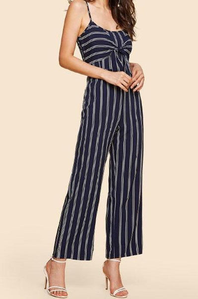 Stylish Stripes Cut-Out Jumpsuit