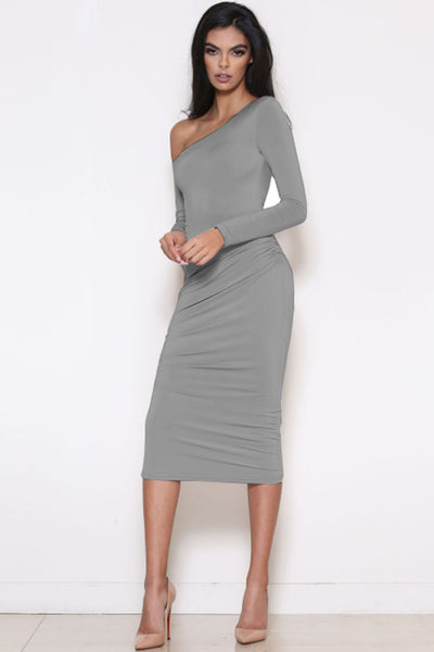 Vogue One-Shoulder Long Sleeve Bodycon Dress