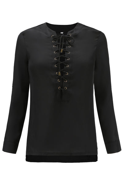 Simple Tie-Front Adjustable Sleeve Blouse