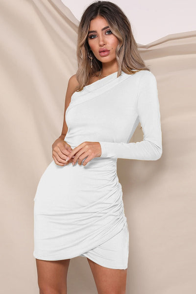 Chic One-Shoulder Pleated Party Dress