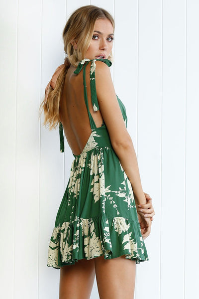 Stylish Spaghetti Strap Printing Day Dress